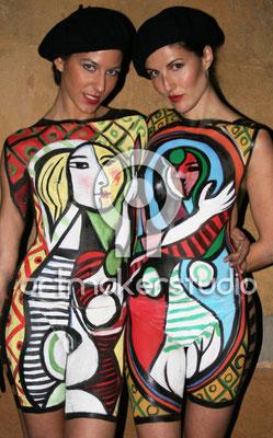 Body Painting PICASSO- Mujer frente al espejo. Barcelona 2009