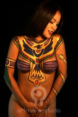 Body Make Up inspirado en Egipto. Modelo: Isabella Figueroa