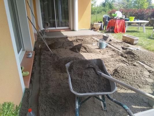 préparation du sol pour une chape bien lisse à Buzet sur Tarn