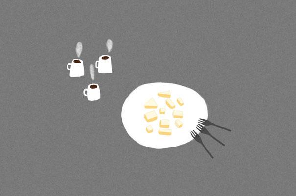 チーズケーキシェア/photoshop