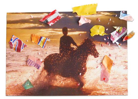 """aus der Serie """"Schöne Grüße vom Strand"""", 2019, Technik: Collage, bestickt, Größe: 11 cm x 16 cm / 18 cm x 24 cm x 3,5 cm (incl. Rahmen)"""