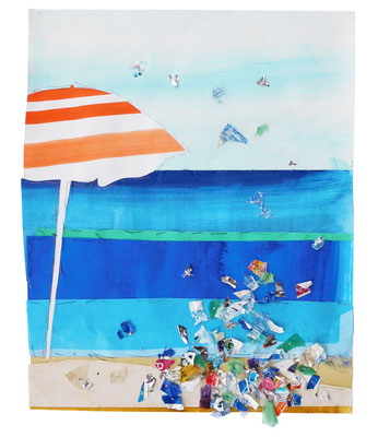 """aus der Serie """"Schöne Grüße vom Strand"""", 2018, Technik: Collage, bestickt, Größe: 44 cm x 36 cm / 53 cm x 73 cm x 3,5 cm (incl. Rahmen)"""