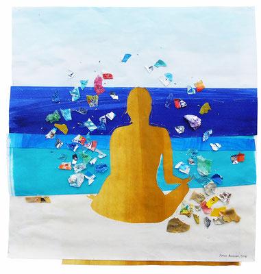 """aus der Serie """"Schöne Grüße vom Strand"""", 2018, Technik: Collage, bestickt, Größe: 42 cm x 42 cm / 53 cm x 73 cm x 3,5 cm (incl. Rahmen)"""