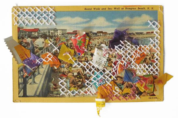 """aus der Serie """"Schöne Grüße vom Strand"""", 2019, Technik: Collage, bestickt, Größe: 13 cm x 20 cm / 24 cm x 30 cm x 3,5 cm (incl. Rahmen)"""
