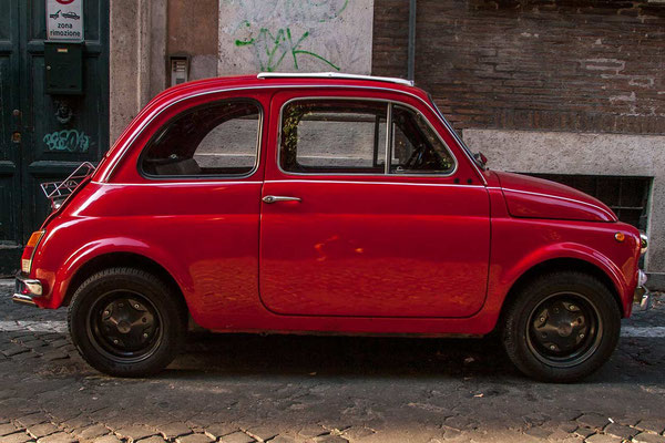 Monti neighbourhood, a classic vintage Italian Fiat '500' car.