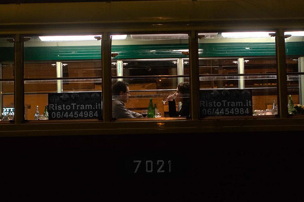 The 'RistoTram', an unique mobile restaurant in Rome, where -previously booking- is possible to have a special dinner on a classic tram, crossing center of Rome close to many famous monuments, eating and listening Jazz and Italian music.