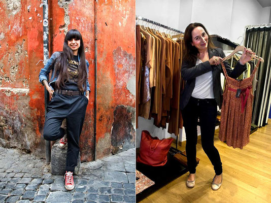 Roman writer Ilaria Beltramme, on the left, author of many books dedicated to the Eternal City / Beatrice C., fashion designer in her boutique in center of Rome, named as her.