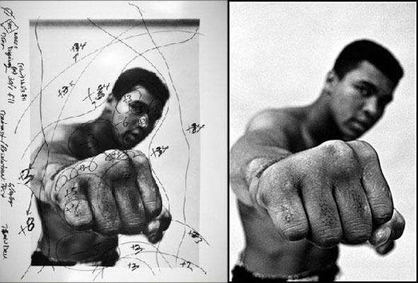 Ritratto in studio di Muhammad Ali e test di stampa del fotografo Thomas Hoepker in 1966 (Hoepker/Magunm)