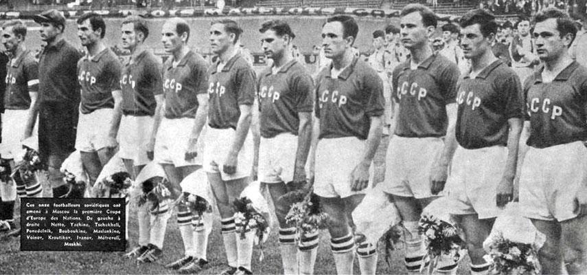La nazionale russa alla finale URSS-Yugoslavia, 2-1,  10 Luglio 1960 (courtesy FOOTBALL MAGAZINE)