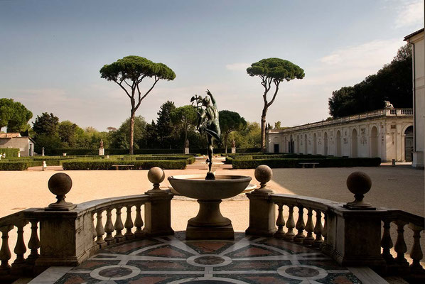 Inside beautiful 'Villa Medici' in center of Rome. Originally a Roman villa, then named and owned by famous Florence's 'Medici' family in Renaissance, now is the French Academy in Rome.