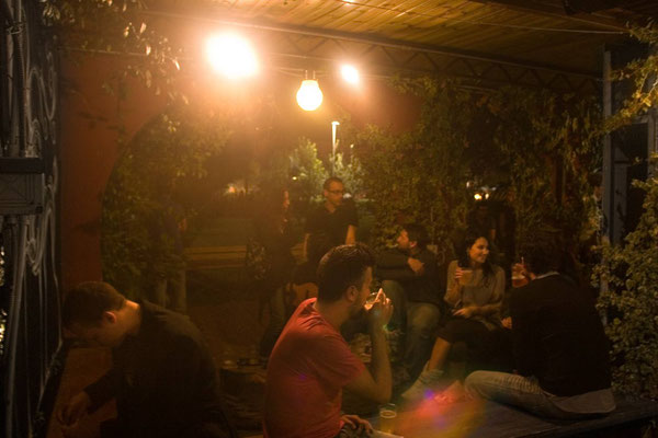Saturday night in 'Circolo degli Artisti', famous and big club of 'Pigneto' neighbourhood of Rome from several years offering different music, art and trends events in the nights of the city, with its live music hall and the large garden.