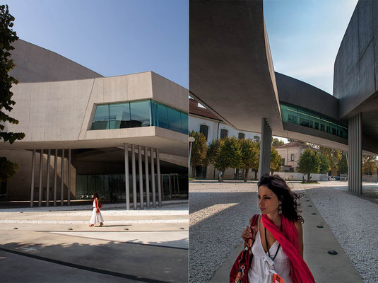 In front of 'MAXXI - Museo Nazionale delle Arti del XXI secolo' (National Museum of the 21st Century Arts), designed by Iraqi-British architect Zaha Adid and located in the Flaminio neighbourhood of Rome.