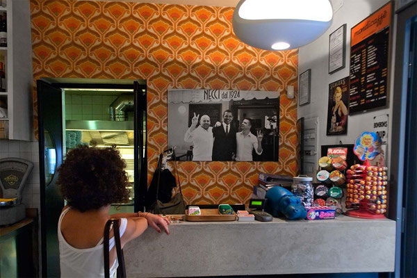 In Pigneto area, inside the famous 'Necci' bar, now also a restaurant, where Italian filmmaker Pier Paolo Pasolini used to stop for lunch in Sixtiets and later.