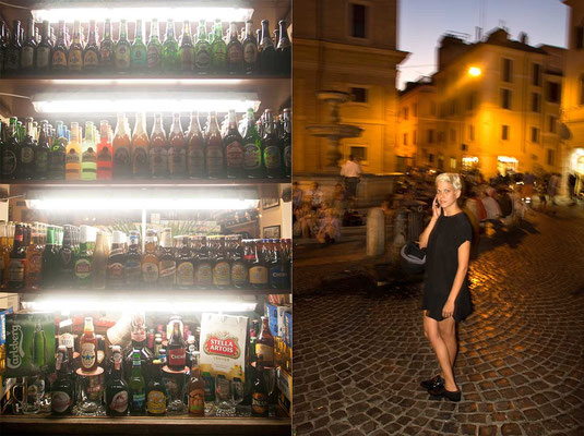 Monti neighbourhood, on the right, saturday evening in 'Piazza [square] Madonna dei Monti', meeting point for young people, students and tourists / on left, a bar window with different beers and alcoholics.