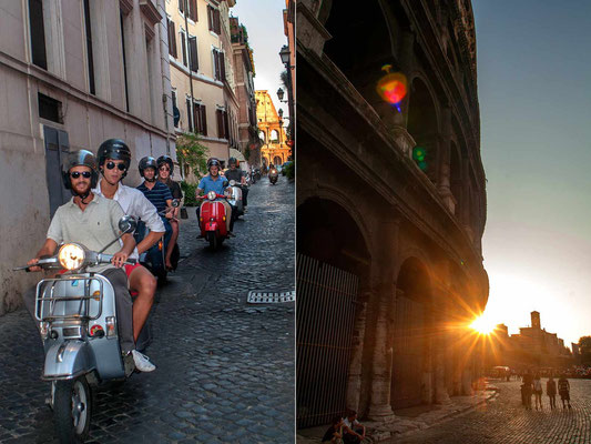 In Monti neighbourhood 'Vespa' scooters meeting, and sunset in front of 'Colosseo'.