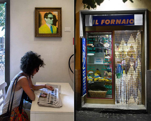 Pigneto area, on the left, in the 'Necci' bar, now a restaurant too, where Italian filmmaker Pier Paolo Pasolini used to stop for lunch in Sixtiets and later (him in the portrait on the wall) / on right, a bakery in pedestrian 'via del Pigneto' street.