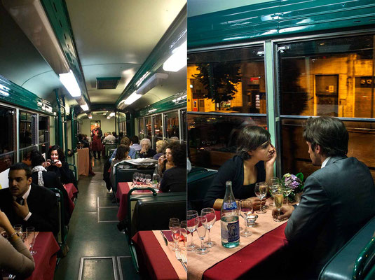 On the 'RistoTram', an unique mobile restaurant in Rome, where -previously booking- is possible to have a special dinner on a classic tram, crossing center of Rome close to many famous monuments, eating and listening Jazz and Italian music.