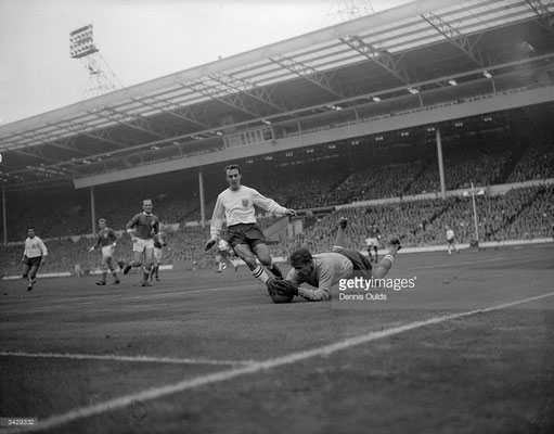 Russian goalkeeper Yashin saving the ball on October 23rd, 1963 (Dennis Oulds/Getty Images)