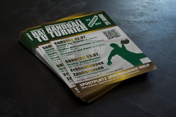 Flyer im DinA5-Format, wetterfest mit beidseitigem UV.Schutzlack, anlässlich des Jubiläumsturnier am Jägersburger Wald I TVE