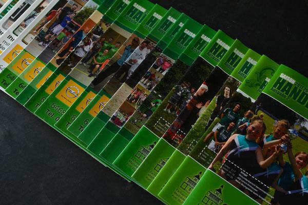 """Diverse Ausgaben der Vereinszeitung """"HandballLive"""", seit mehr als 10 Jahren beteiligt am Layout und Produktion I TVE"""