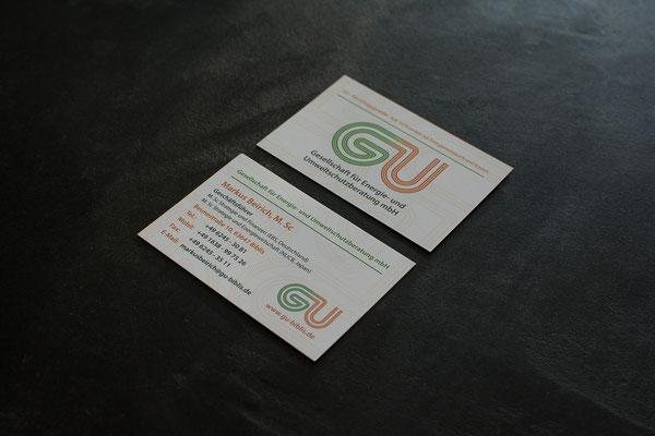 Visitenkarte, Standard, 85 mm x 55 mm, 350 g/m², matt, hochwertigem Qualitätsdruck I GU