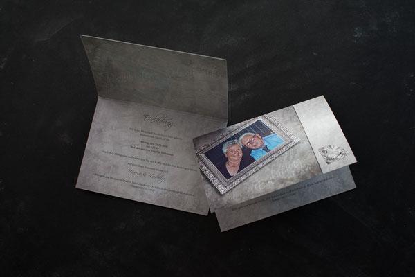 Einladungskarte zur diamantenen Hochzeit im DinA6-Format, querformatig, in der Mitte gefalzt, auf Perlmuttpapier gedruckt I Familie Spahl