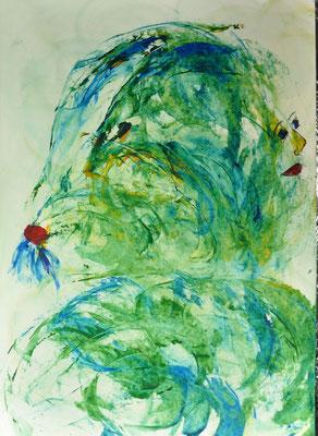Ein rührend Blaues sich vor Grünem freut  42x60