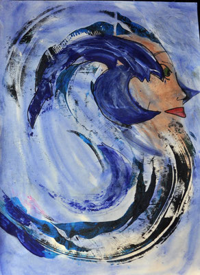 Die wilden Meere springen, der Sturm ist da  42x60