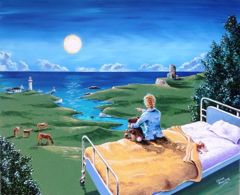 Regarde au loin: Acrylique sur toile format 12F