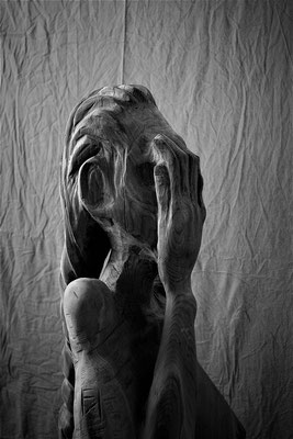 Skulptur Kopf Hand