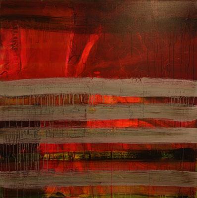 -GESTREIFT- Acryl auf Leinwand mit Collage - 100cmx100cm