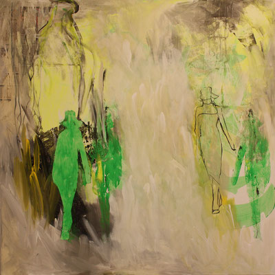 -WALK YOUR WAY 3- Acryl auf Leinwand mit Collage - 100cmx100cm