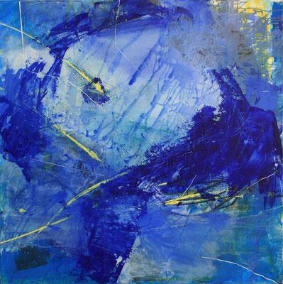 -DEEP BLUE 2- Acryl auf Leinwand mit Collage - 100cmx100cm