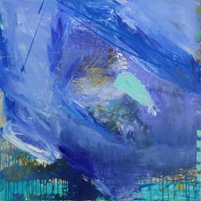 -DEEP BLUE 1- Acryl auf Leinwand mit Collage - 100cmx100cm