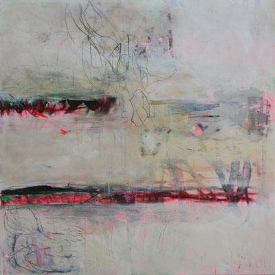 -GEDANKEN- Acryl auf Leinwand mit Collage - 100cmx100cm