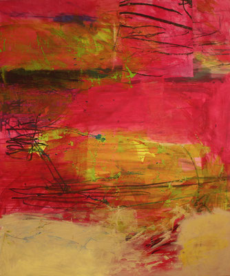 -THINK PINK- Acryl auf Leinwand mit Collage - 120cmx100cm