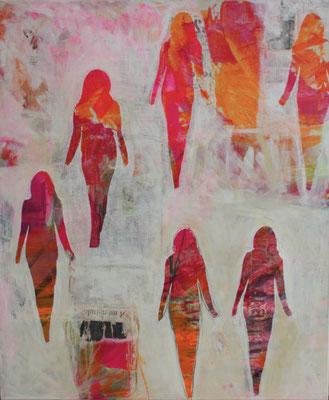 -CATWALK- Acryl auf Leinwand mit Collage - 120cmx100cm