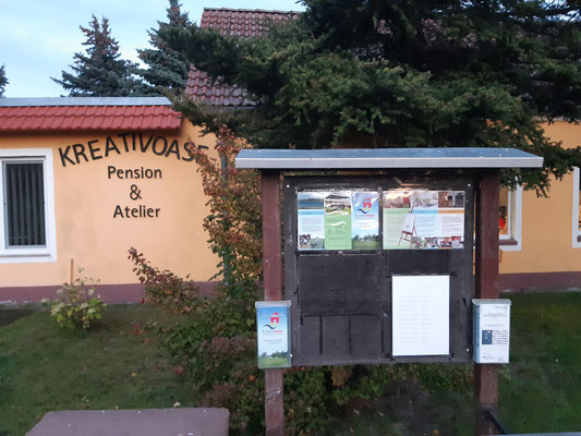 Unsere Flyer findet man jetzt auch an der Infotafel der Kreativ-Oase in Gülpe. Vielen Dank dafür!