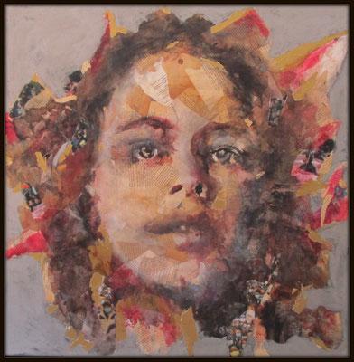 """Aurélie SALVAING, """"Femme fleur"""", Techniques mixtes, 80x80 cm, 2020"""