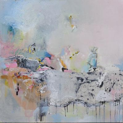 """André LE CORRE, """"Re div"""", techniques mixtes , 80x80 cm, 2017"""