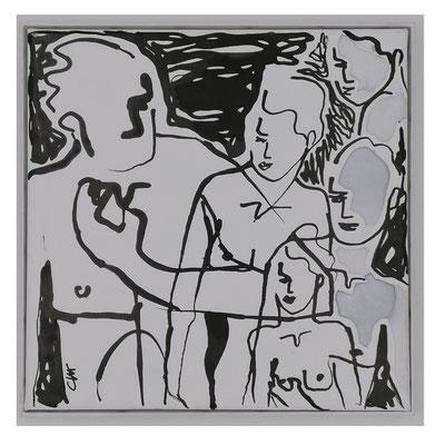 "ClaireBMasimbert, ""Entrelacs"", Encres de chine, encres acrylique, 30x30 cm, 2019"