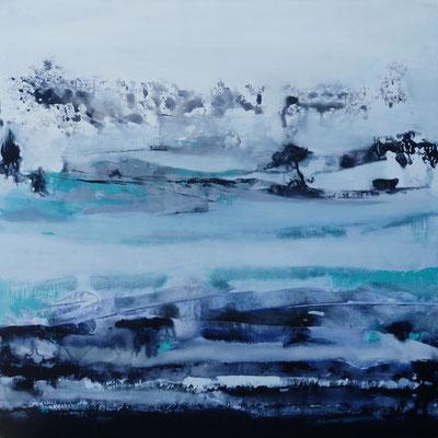 """Odile ESCOFFIER, """"Les pieds dans l'eau"""", Acrylique sur toile, 92x72, 2016"""