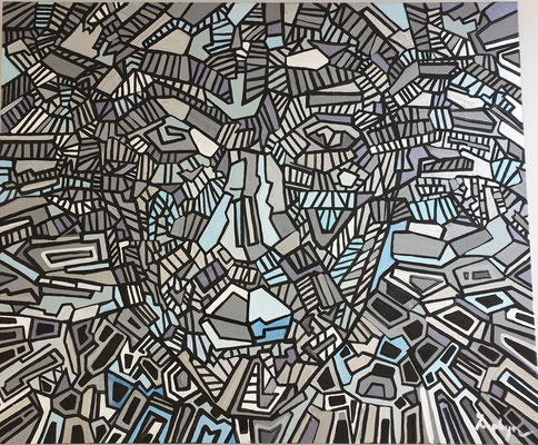 """Placide ZEPHYR, """"Sans titre"""", Acrylique sur toile, 100x120cm, 2019"""
