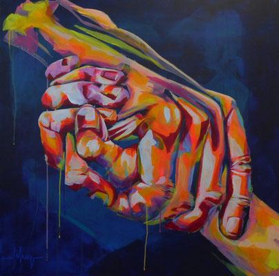 """FIKAS, """"Cohésion"""", Acrylique, 80x80 cm, 2019"""