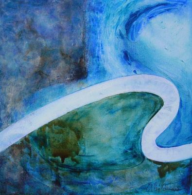 """ALEX'SANDRA, """"electrO #2-50.2"""", Techniques mixtes sur toile, 50x50 cm"""