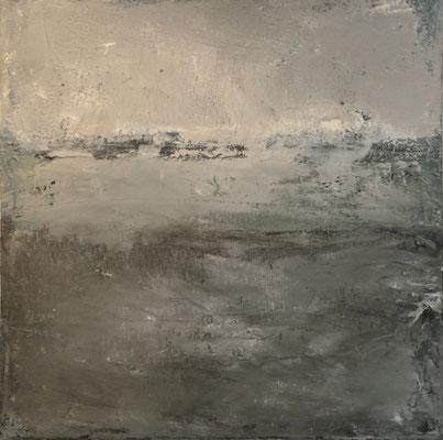 """André LE CORRE, """"Re Litt 33"""", Huile, encre, crayon, 30x30 cm, 2019"""