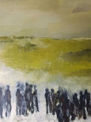 """Elipi, """"Riziere"""", Acrylique sur toile, 80x80 cm, 2019"""