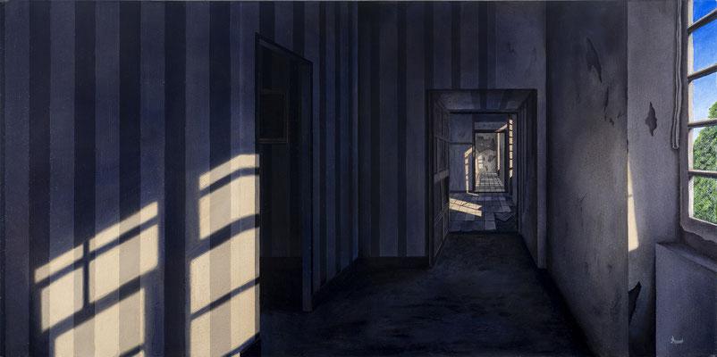 """MANUEL, """"Les taches de lumières"""", Huie sur toile, 60x120 cm, 2018"""