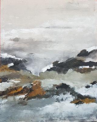 """Elipi, """"Ocean"""", Acrylique, encre sur toile, 90x110 cm, 2018"""