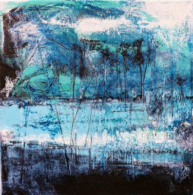 """Odile ESCOFFIER, """"Petit bleu"""", Acrylique sur toile, 30x30, 2019"""